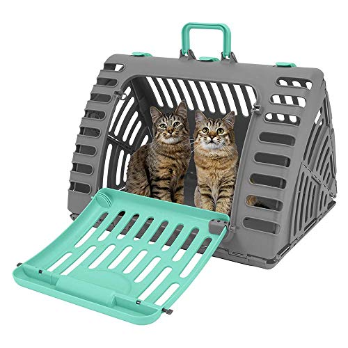 Hengu Faltbarer Katzenträger, Tragbarer Katzen Haustier Transportbox Käfig mit Solidem Kunststoff für Reise, Ärztliche Behandlung & Außenaktivität bis zu 11,3kg Haustier