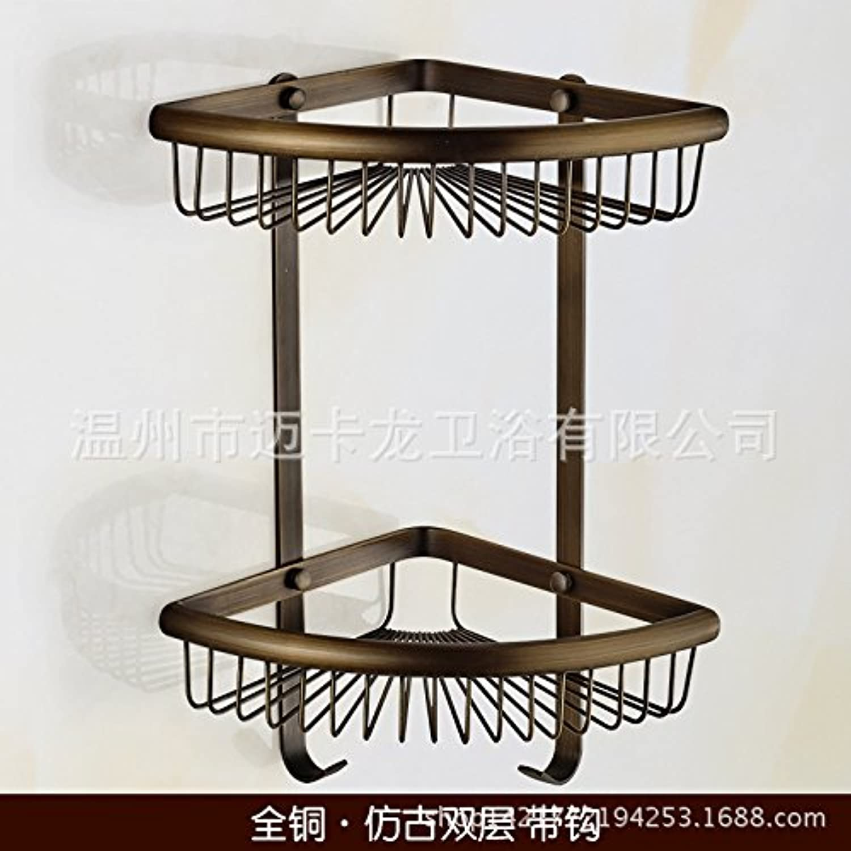 Copper triangle basket double bathroom corner rack antique bathroom racks roast white copper-chrome Wire basket basket