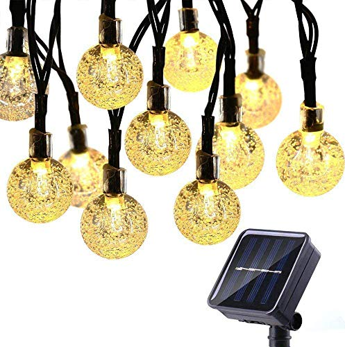 Solar String Lights Garden, 50 LED 24Ft/7M Crystal Ball Solar Powered Waterproof Outdoor Fairy Lights with 8 Modes, Warm White
