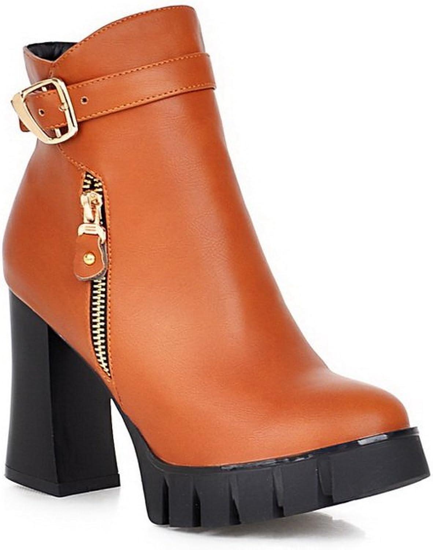 AdeeSu Womens Comfort Slip-Resistant Buckle Round-Toe Urethane Boots SXC01918