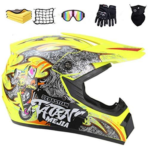 NJYBF Motocross Helm Set, Endurohelme Jugend Kinder Offroad Helm Motocross Gear Combo Unisex Fahrrad Enduro Downhill BMX Off Road Motorcrosshelm (M (54-55 cm))