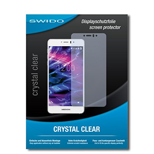 SWIDO Bildschirmschutz für Medion Life X5020 [4 Stück] Kristall-Klar, Hoher Festigkeitgrad, Schutz vor Öl, Staub & Kratzer/Schutzfolie, Bildschirmschutzfolie, Panzerglas Folie