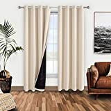 WONTEX 100% Thermal Blackout Curtains for Bedroom – Winter Insulating Window Curtain Panels, Noise Reducing and Sun...