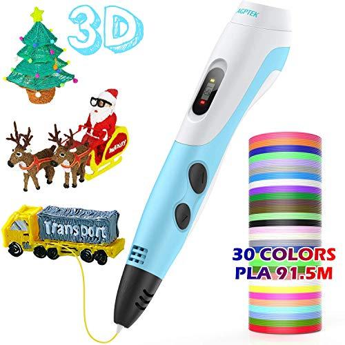 AGPTEK 3D Penna con 30 Colori di PLA, Creative 3D Penna da Stampa con Display LCD 300ft, Controllo della Temperatura, 8 velocità Regolabile e Sleep modalità, Compatibile con PLA/ABS Filaments.