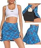 Falda corta de tenis para mujer, con pantalón interior, con bolsillos, para mujer, niña, golf, deporte cuadros L