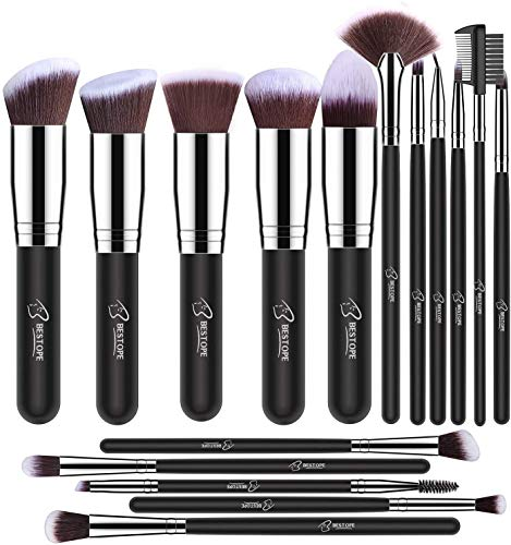 BESTOPE Makeup Brushes 16 PCs Makeup Brush Set Premium Synthetic Foundation Brush Blending Face Powder Blush Concealers Eye Shadows Make Up Brushes Kit