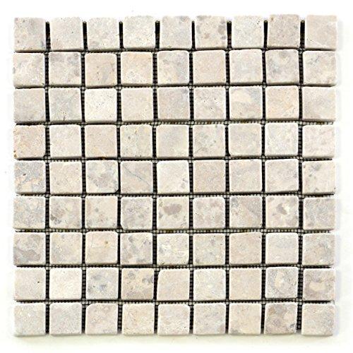 Divero 11 Fliesenmatten Naturstein Mosaikfliesen aus Marmor für Wand und Boden Creme á 29 x 29 cm