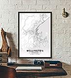 ZWXDMY Leinwand Bild,Neuseeland Wellington Stadtplan