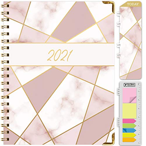 HARDCOVER 2021 Planner November 2020 Through December 2021 85x11 Daily Weekly Monthly Planner Yearly Agenda Bookmark Pocket Folder and Sticky Note Set Pink Mosaic