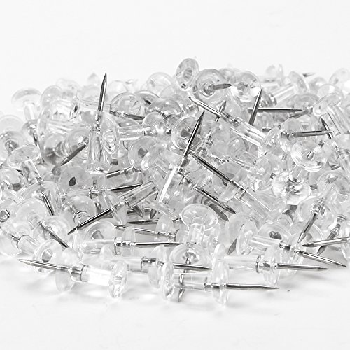 Yalis Push Pins 600 Count, Standard Clear Thumb Tacks Steel Point and Clear Plastic Head Photo #5