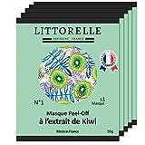 Littorelle – 5x Maschera Viso Peel-Off Esfoliante al Kiwi – Prodotto in Francia – Rivitalizza,Tonifica e Protegge la pelle – Antiossidante, Rimpolpante, Anti-Invecchiamento- Tutti i tipi di pelle