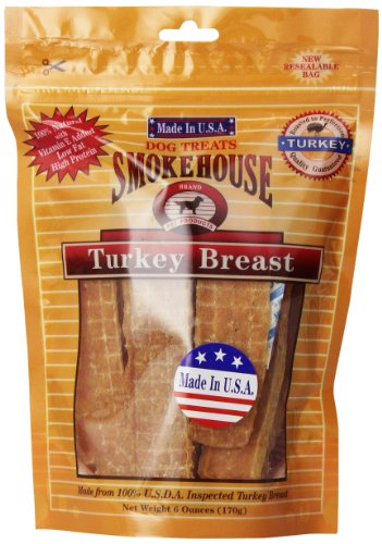 Smokehouse 100-Percent Natural Turkey Breast Dog Treats, 6-Ounce