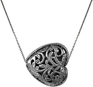 Izaara 92.5 silver sterling Hallmark Silver Oxidised Stylish Heart Shape Pendant With Chain. Ideal for cel.