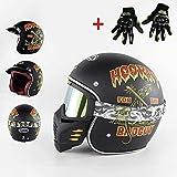 ZHXH Open Vintage Harley Moto Jet Jet Dot Dot Light Light Uomo e donna Stagioni per adulti 3/4 Maschera Occhiali casco + guanti