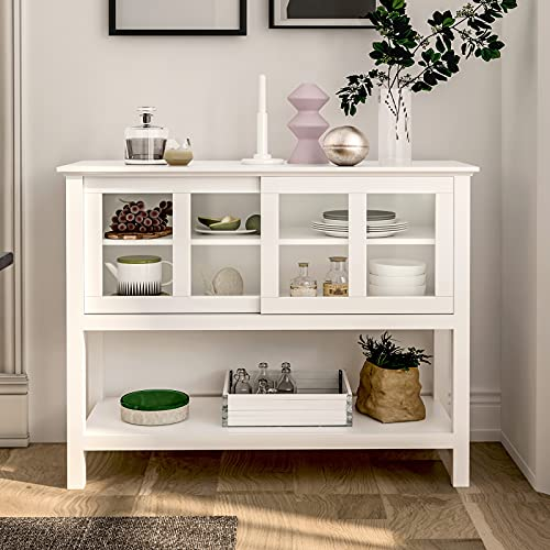 Tiptiper Sideboard Buffet Storage Cabinet, Dining Room Buffet Table Server with Sliding Tempered Glass Doors, White Console Cabinet with Bottom Shelf for Living Room, Entryway