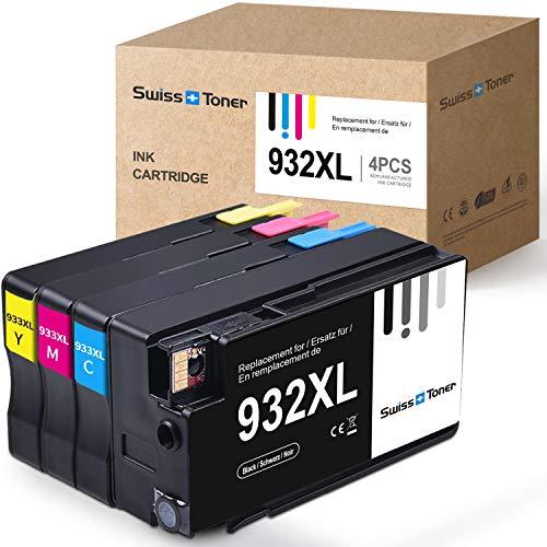 SWISS TONER Compatibile per HP 932XL 933XL MultiPacco Cartucce d'inchiostro per HP Officejet 6100 6600 6700 7110 7510 7512 7610 7612 Stampante (Nero Ciano Magenta Giallo)