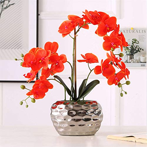 Butterfly Orchid Artificial Flower Orange Simulation Phalaenopsis Bonsai with Silver Metal Vase for Wedding Party Home Centerpiece Decor
