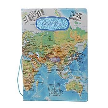Porte-Passeport en Cuir PVC de Motifs Divers, Etui de Passeport Accessoire de Voyage - Bleu