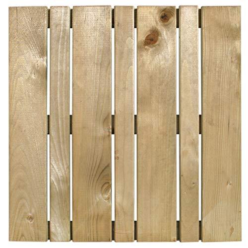 Terrassen-Fliesen Holzfliesen für den Balkon und Garten 50x50cm 1m² (4 Stück) | Holz-fliesen von Nordje® (grün - Welchselprofil)