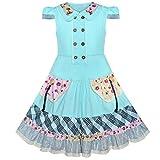 Sunny Fashion Robe Fille Bleu Bouton École Uniforme Court Manche Vintage Robe Ceremonie...