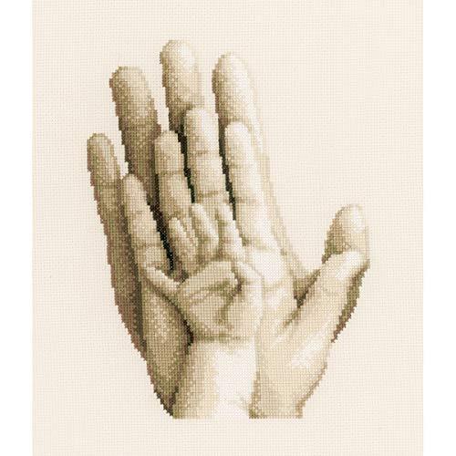 Vervaco tellpatroon handen Aida kruisborduurverpakking om mee te tellen, wit, 20 x 25 x 0,3 cm
