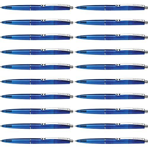Schneider K20 Icy Colours Kugelschreiber (Schreibfarbe: blau, Strichstärke M, dokumentenechte Mine, Druckmechanik) 20er Packung, blau