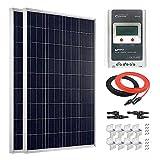 Giosolar Kit de panel solar de 200 W y 12 V de policristalina con control de carga MPPT LCD de 20 A para caravana de barco y caravana