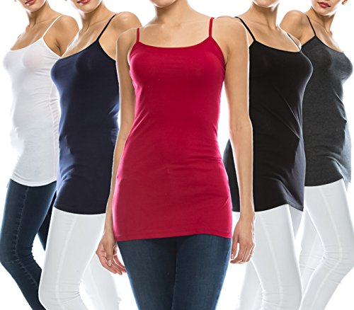 coul J 5 Pack Women's Basic Casual Cotton Stretch Long Camisole Tank Top w/Adjustable Straps, Various Muti Colors (WT/RD/CH/NV/BK_X-Large)