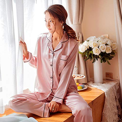 Pyjama Damen Nachthemd Schlafanzug Frauen Pyjamas Kunstseide Nachtwäsche Satin Pyjamas Set Blumendruck Langarm Herbst Winter Homewear L Pinkpyjamas