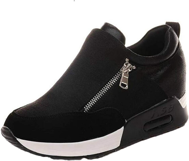 Girl Slip On Height Increasing Vulcanized shoes Woman High Heels Wedges Hidden Heel Platform Casual Sneaker