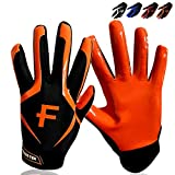 FINGER TEN Youth Football Gloves Ultra Stick Palm Receivers 1 Pairs Sizes Small Medium L XL, Flexible Silicone Grip Receiver Glove Black White Blue Red Orange for Kids Age 5-14 (Small, Orange)