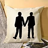 No - Branded Decorative Cover Sets Pillow Protectors Cushion Covers Standard Size LGBT Gay, Couple Holding Hands Design Gay Souvenirs, Couples Walkers for Sofá Home 18x18