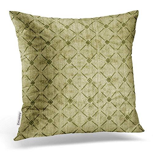 MayBlosom - Federa per cuscino a contrasto con motivo a rombi verde salvia in finta spugna, 40 x 40 cm, con cerniera nascosta, cuscino decorativo per divano