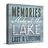 Barnyard Designs Memories at The Lake Last a Lifetime Box Wall Art Sign, Primitive Country Lake Home Decor Sign with Sayings 8' x 8'