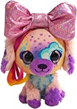 Little Bow Pets Stuffed Animals - Large Soft Fluffy Plush Multi-Color Puppy Dog Stormy Bow Pet with Pink Sparkle Surprise Bow - 2 Surprise Toys Inside Bow