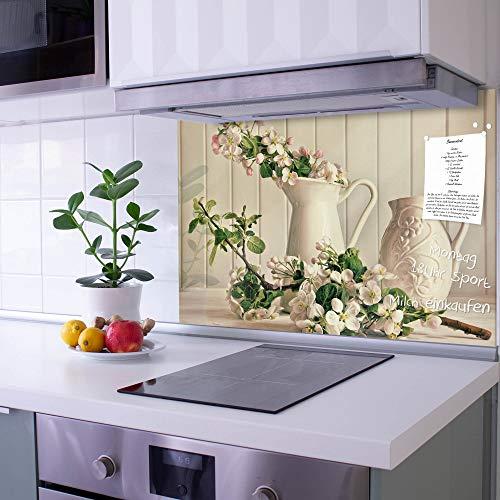 banjado Glas Spritzschutz für Küche und Herd | Küchenrückwand mit Motiv Stillleben Kirschblüten | Glasrückwand selbstklebend ohne Bohren | Küchenspiegel magnetisch und beschreibbar (90x60cm)