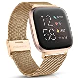 Maledan Compatible with Fitbit Versa Lite Bands for Women Men, Stainless Steel Metal Mesh Band Bracelet Strap Replacement for Fitbit Versa 2/Versa/Versa Special Edition, Royal Gold