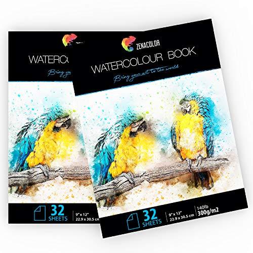"""64 Blatt naturweiß A4 Format (9"""" x 12"""") - 2 Aquarellblöcke für Aquarellmalerei - 2-er Set Malblöcke mit Zeichen- und Aquarellpapier 300g für Künstler und Hobbybastler"""