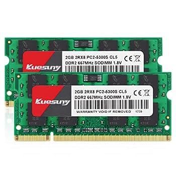4GB Kit  2GBX2  DDR2 667 sodimm RAM Kuesuny PC2-5300 / PC2-5300S CL5 200-Pin Non-ECC Unbuffered Notebook Laptop Memory Modules