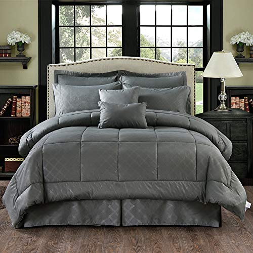 MERRY HOME 10 Piece Comforter Set Bed-in-A-Bag with Sheet Set - Plush Luxury Solid Color Cal King Comforter Set with Quilted Pattern for All Season, Grey
