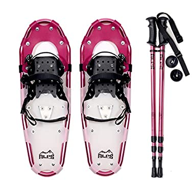 ALPS Adult All Terrian Snowshoes + Pair Anti-Shock Adjustable Snowshoeing Pole + Free Carrying Tote Bag (21 inch)