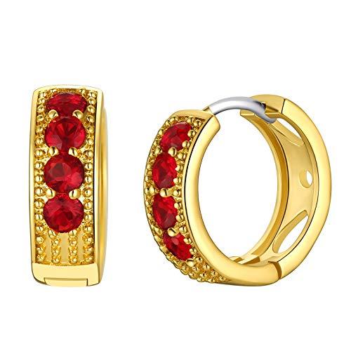 FindChic Birthstone Earrings June For Women Golden Huggie Piercing With 925 Silver Post Hypoallergenic Birthstone Hoop Earrings