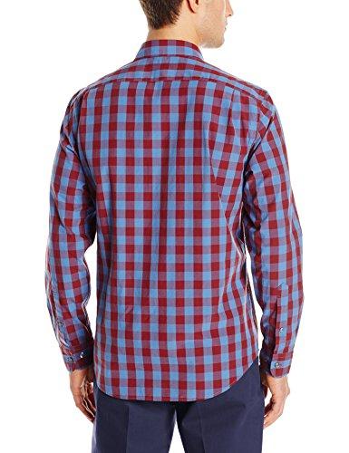Goodthreads Men's Regular-Fit Long-Sleeve Large Check Shirt, Blue/Burgundy, Large