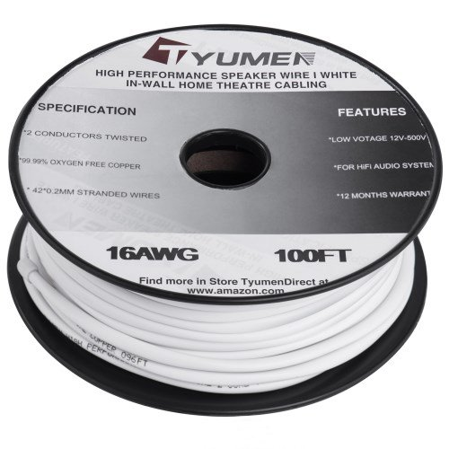 Tyumen 16 AWG Gauge 2-Conductor Speaker Wire Cable (100 Feet, White) for in-Wall Use - 99.99% Oxygen Free Copper