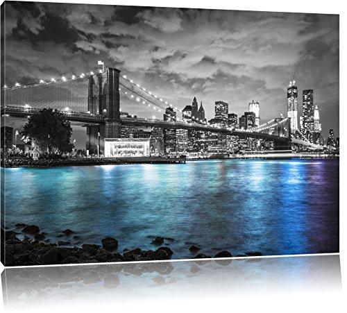 New York Skyline am Abend schwarz/weiß Format: 120x80 auf Leinwand, XXL riesige Bilder fertig gerahmt mit Keilrahmen, Kunstdruck auf Wandbild mit Rahmen, günstiger als Gemälde oder Ölbild, kein Poster oder Plakat