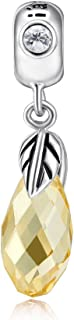 i'ange's Gold Crystal Fruit Bead Charms, 925 Sterling Silver Crystal Dangle Charms for Bracelets Autumn Fairy