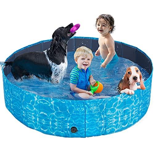 Piscina per Cani Grandi Vasca da Bagno per Cani, 160cm Piscina con Palline per Bambini, di PVC Pieghevole Antiscivolo Resistente all'Usura, Sea