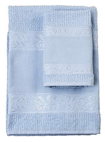 Filet - Set Asciugamani con Ospite | 100% spugna di cotone | Tinta unita | con Inserto in Tela Aida da Ricamare - Cielo