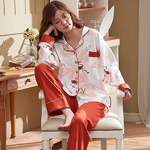 Langarm-Pyjama Aus Baumwolle Für Damen,Roter Flamingo Schlafanzug, Schöne Und Frische Langarm-Strickjacke Baumwolle Casual Wear, Soft Comfort Sleep Warm Und Atmungsaktiv Stretch Home Service Anzug F