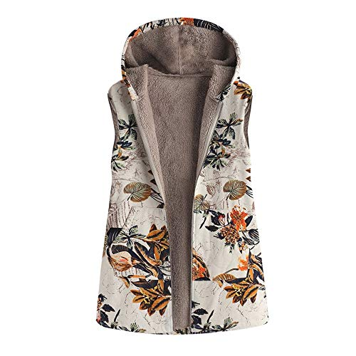 VEMOW Heißer Elegante Damen Frauen Warme Outwear Vintage Geometric Print Mit Kapuze Taschen Oversize Weste Mantel Jacke Winter Herbst(X1-Braun, 46 DE / 3XL CN)